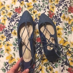 Chambray Lace Up Flats